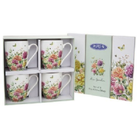 Set of 4 Fine China Floral Mugs, Boxed, Rose Garden